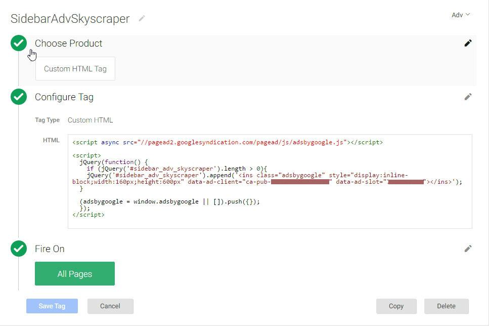 Aggiunta di un custom tag per AdSense